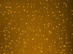 LED Плей-лайт Световой дождь без контроллера, 2х1,5 м, желтый