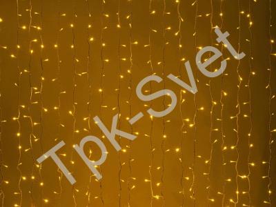 LED Плей-лайт Световой дождь без контроллера, 2х3 м, усилен. влаго-мороз защита, желтый