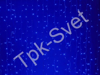 LED Плей-лайт Световой дождь с контроллером (динамика), 2х3 м, синий