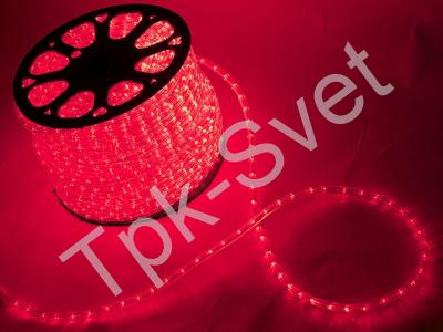 Дюралайт круглый со светодиодами D-13мм, красный, 2 жил.
