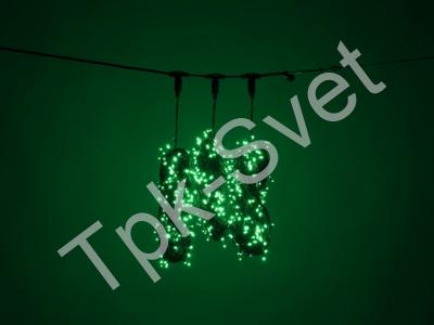 """Светодиодный Клип Лайт """"Спайдер - 3-х лучевой"""", без контроллера, с трансформатором, зеленый"""