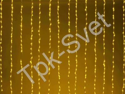 """LED Плей-лайт Световой занавес """"Водопад"""" с 8-и канальным автомат контроллером, 24 В, 2х3 м, желтый"""