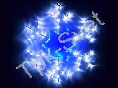 Снежинки LED 46х46 см, бело-синяя